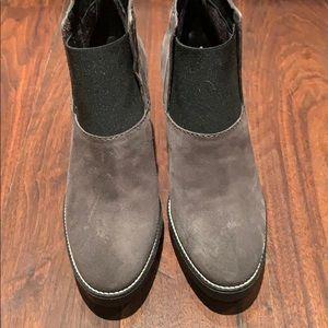 Aquatalia grey suede wedge bootie